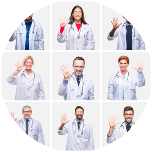 Kollage mehrerer Ärzte mit winkender Hand