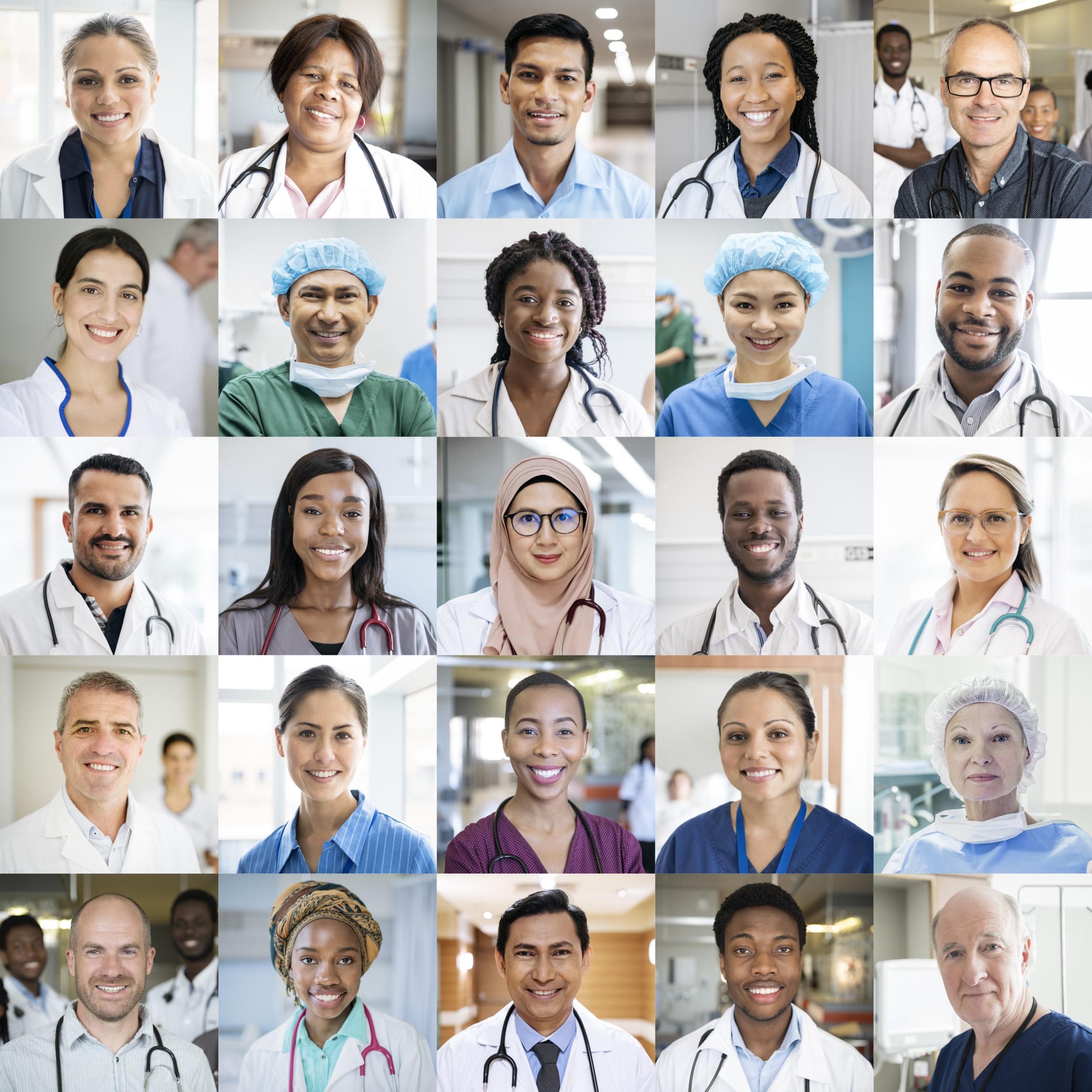 Kollage mit vielen Medizinern verschiedener Nationalitäten